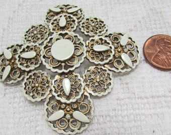 Vintage Florenza Maltese cross brooch gold and white