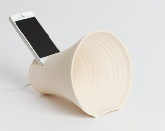 iPhone, iPhone docking station, stoneware docking station, phone, amplifier, ceramics, pottery, tech, iPhone accessory, speaker,office, dock