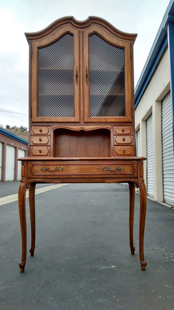 Vintage French Provincial Secretary Desk With Hutch By