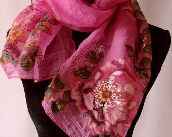 Natural silk shawl - floral, crimsom hand painted scarf, eglantine
