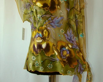 Tunic.Natural silk tunic - handmade artwork, silk painting, khaki floral tunic, poppies