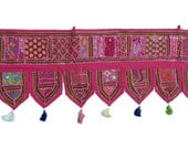 "78x13"" Pink Indian Handmade Window Treatment Valance Patchwork Topper Toran Tapestry Ethnic Decorative Art"