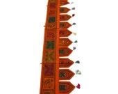 "78x13"" Orange Indian Handmade Window Treatment Valance Patchwork Topper Toran Tapestry Ethnic Decorative Art"