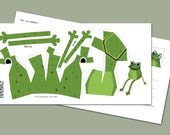 "Postcard ""Mini Frog"" DIY papercraft template, Size: 210x105mm Happy Frog"