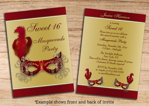 items similar to printable sweet 16 masquerade party