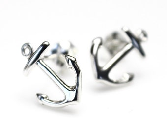 READY TO SHIP! Sterling Silver Anchor Earrings, Nautical Wedding Jewelry, Navy Wife, Stud Earrings, Post Earrings