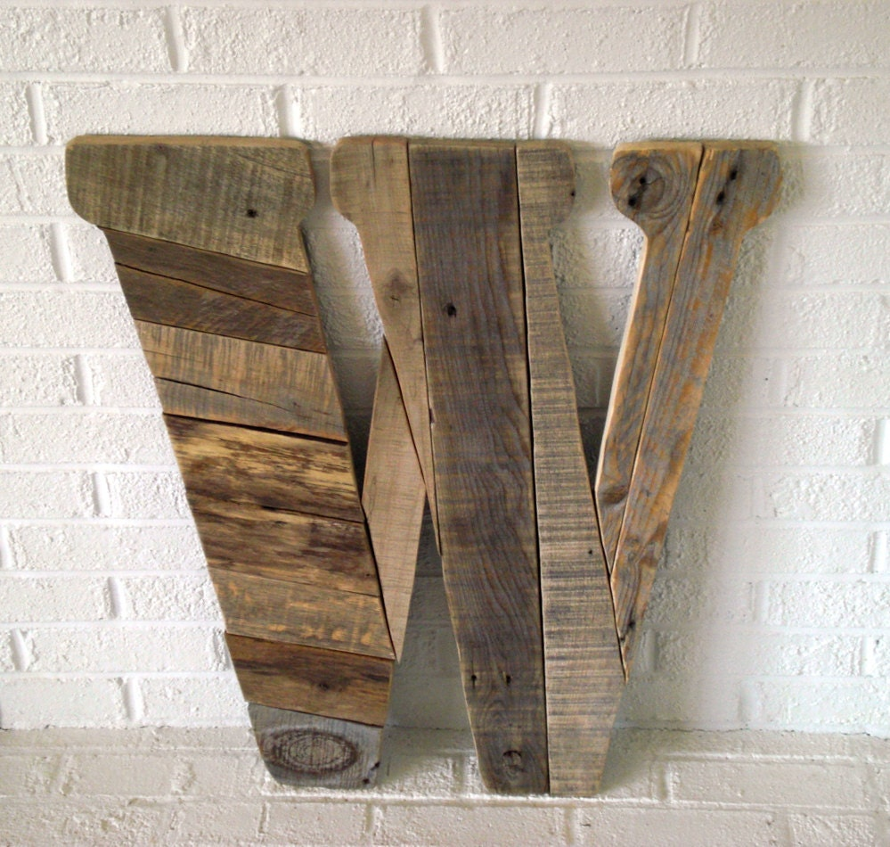 Wood wall art giant letter w for Large wooden letters