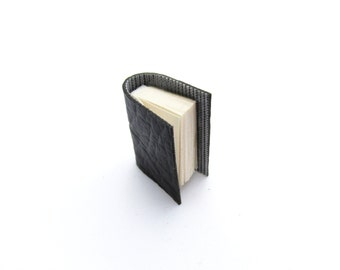 Handcrafted Miniature Book Brooch For Him - Black Vinyl Bound - Vegetarian Friendly - Literature Accessory - Beat Poet