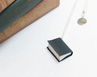 Leather Book Necklace -  Upcycled Book Jewellery - Dark Charcoal Gray Miniature Literature, Leather Cover