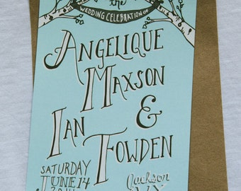 SAMPLE Blue Rustic Tree Wedding Invitation, 8.5x3.66, Kraft Paper Open End Envelope, Handlettered, Custom