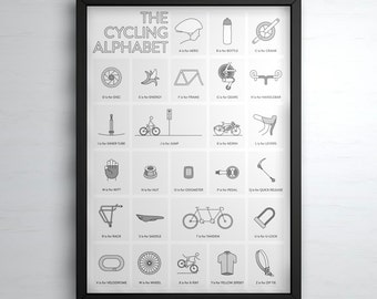The Cycling Alphabet Poster Print - Cycling Art Illustrated in the UK