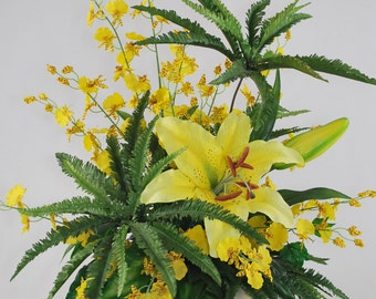 Bright Yellow Calla Lily, Yellow Oncidium Orchids and Fern Silk Floral Arrangement Decor