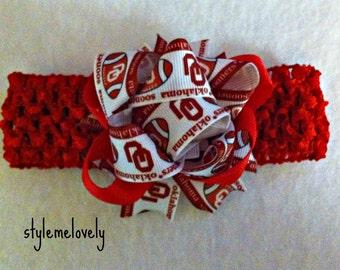 Oklahoma Sooners Baby Girl Bow Crocheted Headband