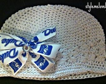 Duke University Baby Girl Boutique Bow Crocheted Hat