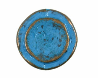 Metal Buttons - Rustic Copper Circles Metal Shank Buttons in Blue Color - 14mm - 9/16 inch - 6 pcs