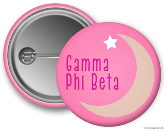 GPB Gamma Phi Beta Crescent Moon Star Sorority Button