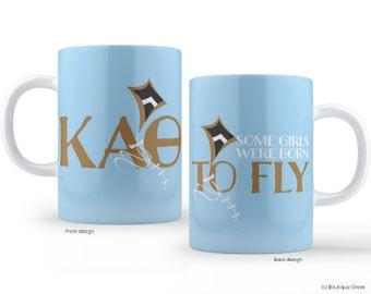 KAO Kappa Alpha Theta Born To Fly Sorority Mug