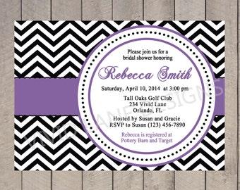 Bridal Shower Invitation - Purple, Black and White Chevron, Wedding Shower Invite, Red, Yellow, Pink, Blue - 080