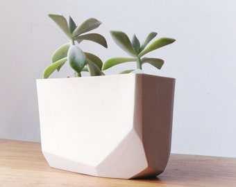 slip cast porcelain geometric planter