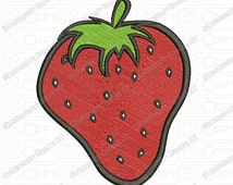 Strawberry Embroidery Design in 3x3 4x4 and 5x7 Sizes