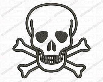 Skull and Crossbones Applique Embroidery Design in 3x3 4x4 and 5x7 Sizes
