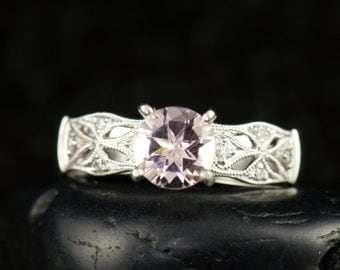 Jocelyn - Morganite & Diamond Engagement Ring in 18k White Gold, Prong Set Round Brilliant Center, Open Filigree Band, Free Shipping