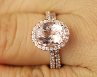 Maria B and Heather Set - Morganite Engagement Ring and Diamond Wedding Band in Rose Gold, Halo, Shared Prong, 1/2 Eternity, Free Shipping!