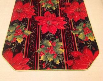 Festive Red Poinsettia Table Runner