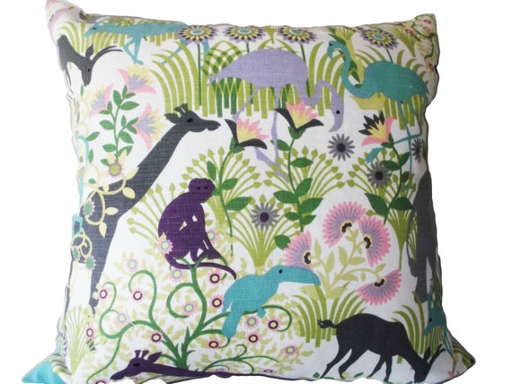 Jungle Animal Pillow : Duralee Animals Elephant Jungle Boogie by PillowTimeGirls on Etsy