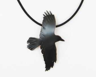 crow pendant, crow jewelry, crow necklace, raven jewelry, raven necklace, corvids, rook jewelry, goth raven, goth crow, patinaed copper