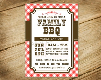 Family BBQ, Picnic, Family Reunion Western Themed Invitation