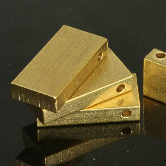 "10 pcs D32 Raw Brass  stamping 10 x 20 x 4 mm 0,39"" x 0.79"" x 0,16""  finding rod industrial design (2 mm  0,08"" 12 gauge hole )"
