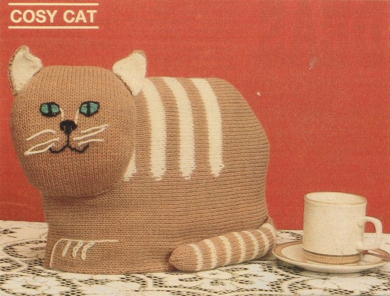 Free Patterns For Loom Knitting : Cosy cat tea cosy vintage knitting pattern PDF by Ellisadine