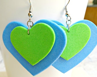 Foam Heart Dangle Earrings, Foam Earrings, Heart Earrings, Romantic Heart Earrings, Green Hearts, Romantic Jewelry, Valentine's Day Jewelry