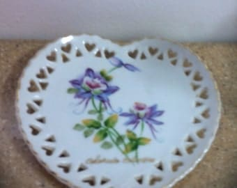 Hand Painted Pierced Porcelain Heart Plate
