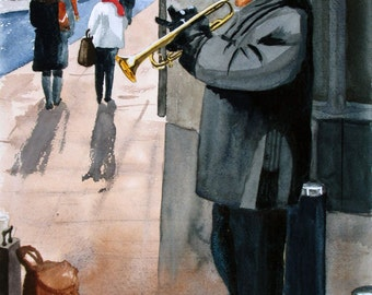 Street Musician, cityscape, 13x19 fine art Giclee print made from original watercolor painting, unmatted
