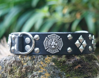 Firefighter's Leather Dog Collar
