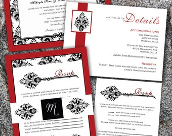 Damask Red & Black Wedding Invitation, RSVP, etc set - Digital File