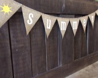 SUMMER Burlap Banner, Bunting, Garland, Pennant, Photo Prop, Wedding Decor, Home Decor, Seasonal Decor