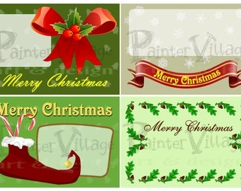 Printable Christmas DIY Card Set - Instant Download Christmas Card - Christmas Card Set of 4 - Christmas Holiday Card - DIY Card Kit