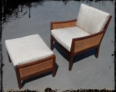 Mid Century Modern Double Caned Lounge Chair & Ottoman