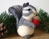 Felted Woodland Squirrel with Acorn Christmas Ornament Baby Shower Birthday Decor Cake Topper in Grey and White
