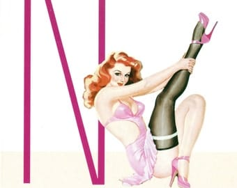 N is for Naughty Pin-Up Girl Poster