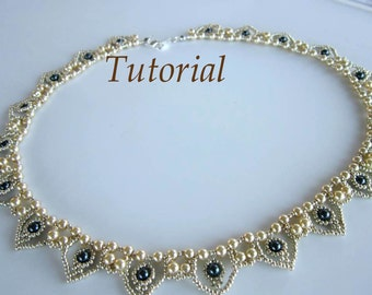 PDF Tutorial beaded necklace Hearts seed beads Swarovsky pearls easy pattern