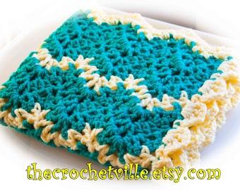 Ripple Fun Crochet Baby Blanket-Dark Teal and yellow