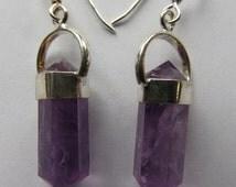 Sterling Silver Amethyst earrings, Polished Amethyst Points, Genuine Gemstone, Handmade Silver Dangles