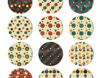 CUPCAKE TOPPERS Vintage Polka dots - Instant Download - Cake bunting - Party decoration