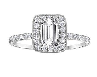 1.25 Carat Emerald Cut Diamond Engagement Ring - Vintage Diamond Halo Setting - Clarity Enhanced Diamond - Platinum Diamond Ring
