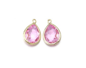 Pink Glass Pendant . Jewelry Craft Supplies . 16K Polished Gold Plated over Brass / 2 Pcs - AG016-PG-PK