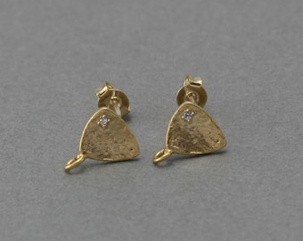 Triangle Post Earring . Wedding, Bridal Jewelry, 925 Sterling Silver Post . 16K Matte Gold Plated over Brass  / 2 Pcs - FC080-MG-CR